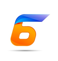 Number six 6 logo orange and blue color with fast vector