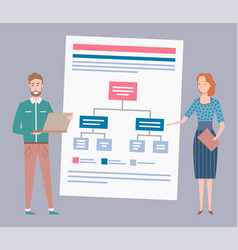 Office workers man and woman scheme or graphic vector