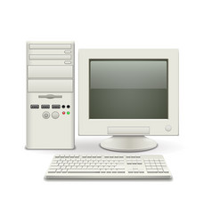 old computer isolated on white vector image