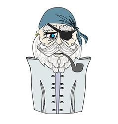 Old pirate captain doodle portrait vector