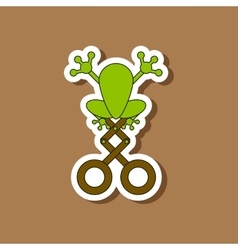 Paper sticker on stylish background Kids toy frog vector