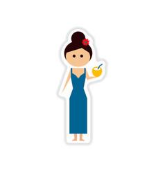 Paper sticker on white background girl vector