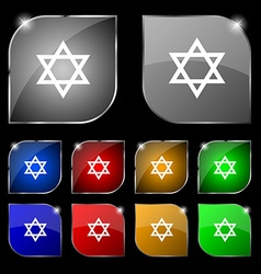 Pentagram icon sign Set of ten colorful buttons vector