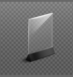 Realistic plastic table stand mockup vector