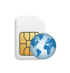 realistic sim card with planet vector image
