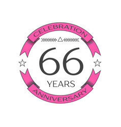 realistic sixty six years anniversary celebration vector image