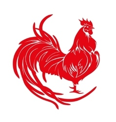 Red rooster Happy Chinese new year 2017 vector image