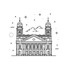 Reformed great church debrecen hungary vector