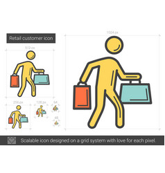 Retail customer line icon vector