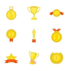 Rewarding icons set cartoon style vector