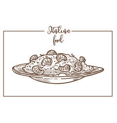Risotto sketch icon for italian cuisine vector