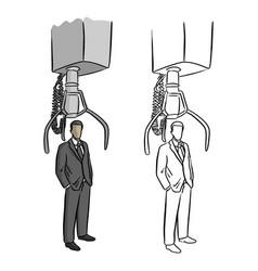 robotic claw choosing businessman vector image