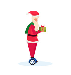 santa claus ride electric scooter hold gift box vector image