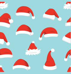Santa hats background christmas seamless pattern vector