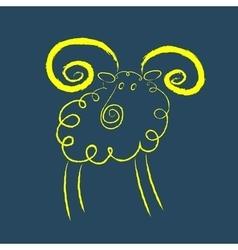 Scribble style yellow ram vector