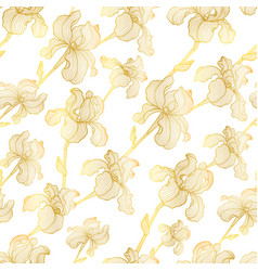 seamless pattern of hand drawn gold iris vector image