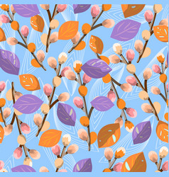 seamless pattern with willow on blue background vector image