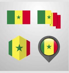 Senegal flag design set vector