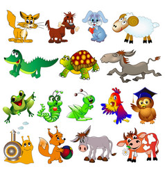 set cartoon animals with cow sheep rabbit vector image
