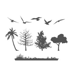 Silhouette of forest tree birds and grasses vector
