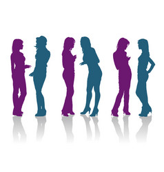 silhouettes girlfriends talking to each other vector image