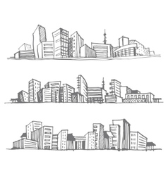 Sketches of city silhouettes vector