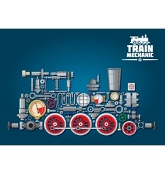 Steam locomotive or train from mechanical parts vector