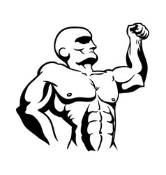strong bodybuilder silhouette icon vector image