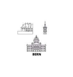 Switzerland bern line travel skyline set vector
