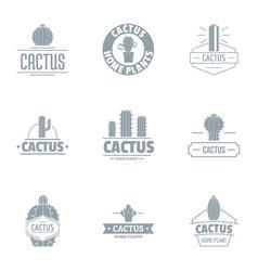 Taste cactus logo set simple style vector