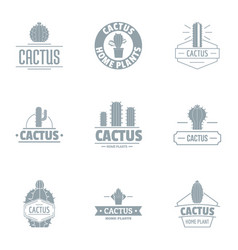 Taste of cactus logo set simple style vector
