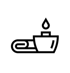towel with candle spa salon line icon vector image