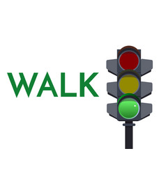 traffic light green signals walk go flat vector image