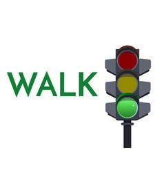 Traffic light green signals walk go flat vector