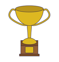 trophy cup symbol blue lines vector image