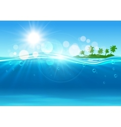 Tropical island in the ocean for background design vector image