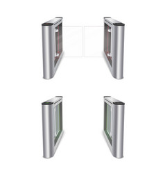 Turnstile with glass doors realistic vector