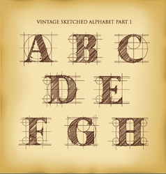 Vintage sketched alphabet set 1 vector image