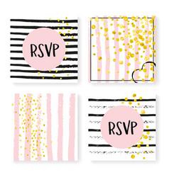 Wedding glitter confetti on stripes invitation vector