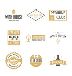 wine logo templates bottle glass bunch of vector image