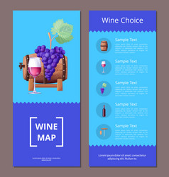 Wine map choice template icons vector