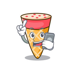With phone ice cream tone character cartoon vector