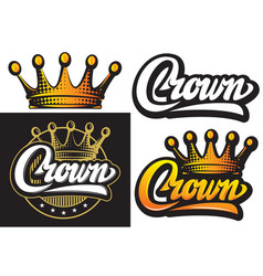 with set crowns isolated clipart vector image