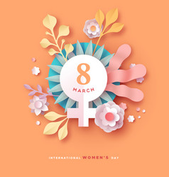 Womens day 9 march spring floral papercut card vector