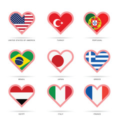 world flag in heart vector image