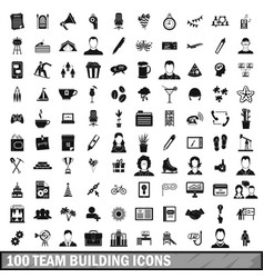 100 team building icons set simple style vector image vector image