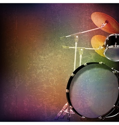 abstract grunge music background with drum kit on vector image