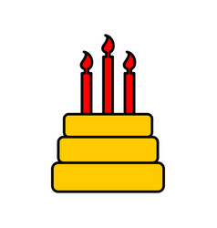 birthday cake sign logo dessert for holiday cake vector image