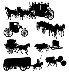 Collection of silhouettes of vintage carriages vector image vector image