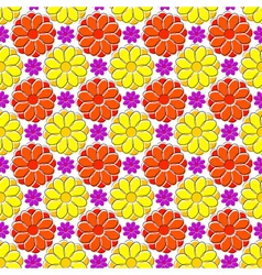 Seamless texture with yellow and red camomiles vector image vector image